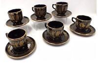 SPATHAS Keramik 12 Piece Cobalt Ceramic 24kt Gold Rimmed Tea Set