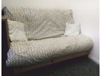 FUTON - Double Size 4ft1 - Premium Wooden Sofa Bed with Matching Cushions