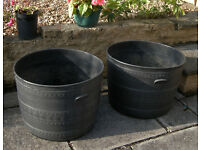 2 Large Black Patio Planters Tubs
