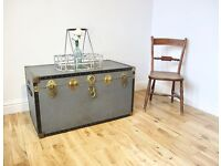 Vintage Metal-bound Steamer Trunk / Coffee Table / Storage Chest
