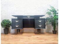 Vintage Luxury Gplan Work Study Desk Table Dresser Unit in Black with Art Deco Drawer Pull Handles