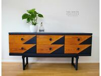 Retro Sideboard 1960's 1970's Style - Hand Painted - Restored