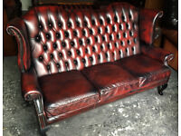 Oxblood leather 3 seater highback Chesterfield sofa