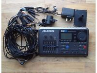 Alesis DM10 electronic drum Pro Module trigger brain w. PSU, cables clamp