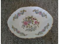 Paragon fine bone china tableware oval dish with vintage floral design (1960-1979) with gold trim