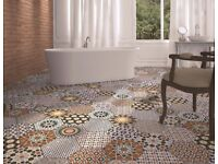 TILES JOB LOT 01: Bright & colourful Spanish hexagonal porcelain tiles -10 square metres