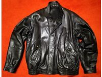 Reduced.....Mens black leather jacket - size 40 - 42 ....just £25
