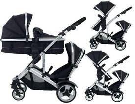 Double pushchair pram, kidz kargo black tandem