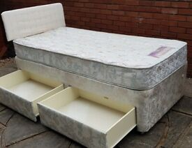 single bed base, storage drawers + headboard + mattress. In used condition