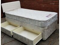single bed base, storage drawers + headboard (without mattress). In used condition