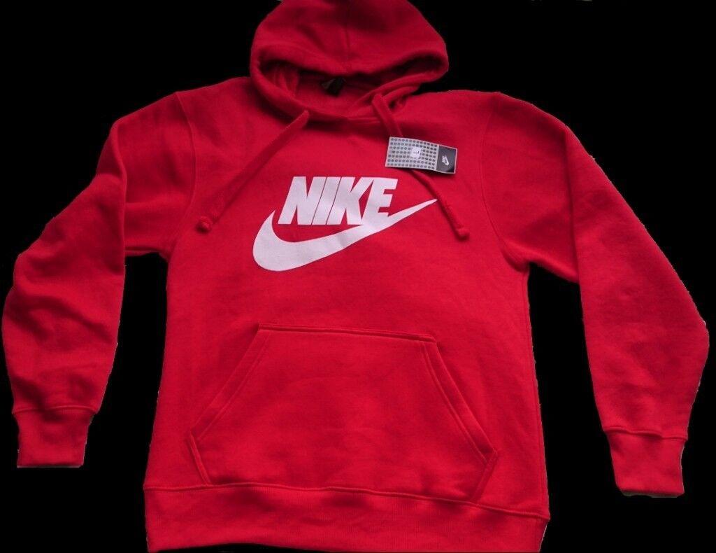 Nike Red Hoodie Large Mens Womens Tracksuit Top Jumper Long Sleeve Adidas  air max Puma Hoody da8b16c89
