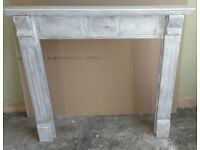 Wooden fire surround shabby chic style