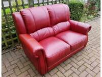 High quality Red leather 2 seater sofa. Delivery is possible