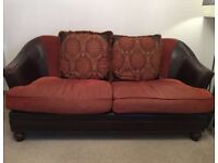 Fabric and leather couch
