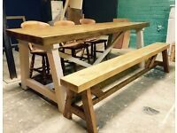 Chunky wooden table set