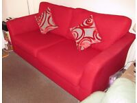 DFS Red fabric Sofa & Chair .