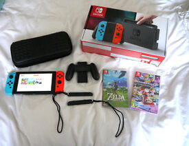 Nintendo Switch Bundle (3 Games, Case and 32GB Micro SD Card) Boxed