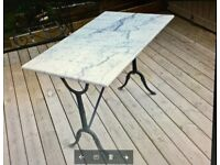 French Marble top Bistro Table Retro Vintage Cast Iron