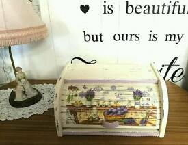 HANDMADE Vintage Inspired Shabby Chic Roll Top Wooden Bread Box £25 💖💖💖
