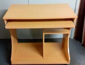 Laminated desk with sliding keyboard shelf, on wheels £20