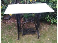 CAST IRON SEWING MACHINE BASE GARDEN TABLE WITH MARBLE TOP