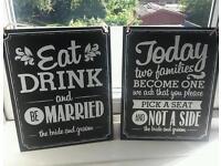 Blackboard wedding signs