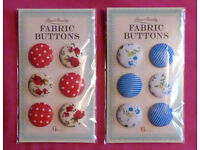 Fabric Buttons (Red, Blue, Flowers, Spotted, Striped)