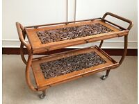 Teak Hand Carved Brass Gold Inlaid Bent Wood Trolley Occasional Display Table