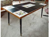 Vintage 1950s 1960s Mid Century Tile Top Coffee Table