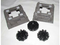 LEGO 2 x raised dark grey marble rock baseplate (53588) + 3 x large cone wheels (64712)