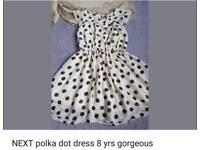 Next girls polka dot dress 8yrs