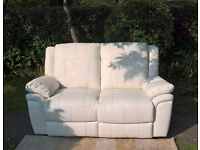 Ex-display 2 Seater Ivory Leather Manual Reclining Sofa