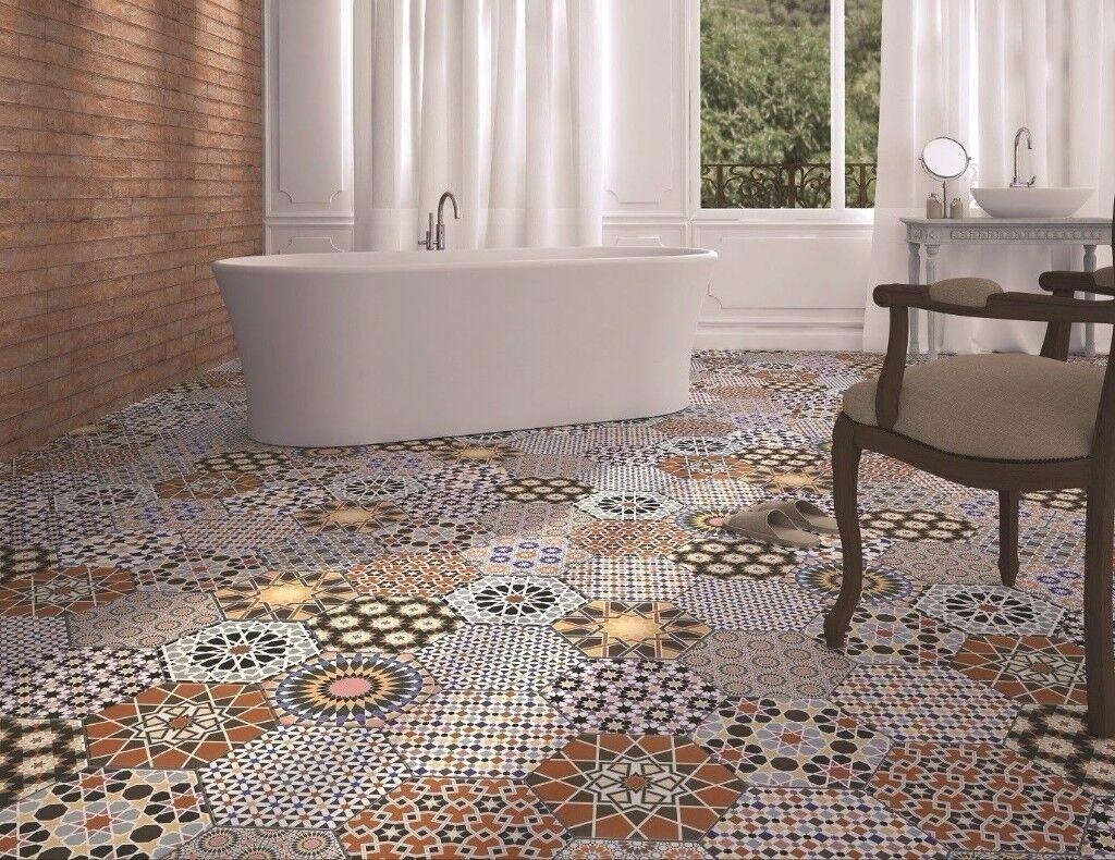 Tiles Job Lot 01 Bright Colourful Spanish Hexagonal Porcelain 10 Square Metres