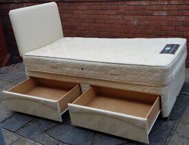 single-size divan bed base + mattress + headboard. 2 under storage drawers. Very good clean conditio