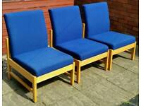 3 reception chairs. Tough wearing sturdy high quality. In very good condition.