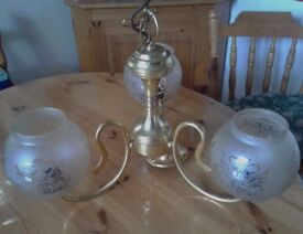 BEAUTIFUL CEILING LAMP (3 arms) in top condition.Bargain at £20.