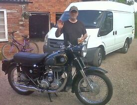MAN AND VAN HIRE classic bike, vintage motorbike collection, delivery transport