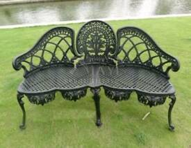 3 seater Cast aluminium garden benches