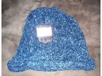 Brand New Ladies Chenille Blue Speckled hat - one size fits all