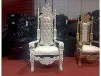 2 x New White King Rose Lion Throne Chair Wedding Events Luxury Carved Furniture Italian Throne