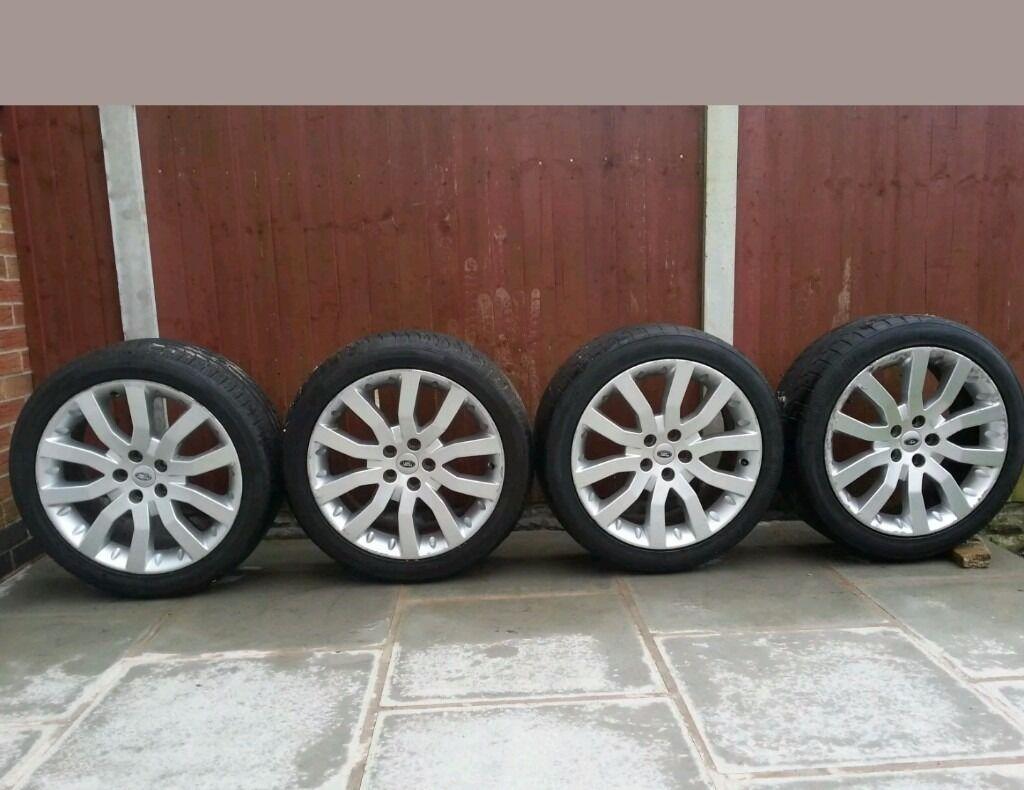 "4 land rover 20"" alloy wheels good condition"