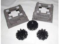 LEGO 2 x raised dark grey marble rock baseplate (53588) + 3 x large cone wheels (64712)