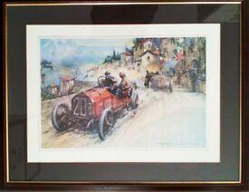 Two Framed Gordon Crosby Motor Racing Prints