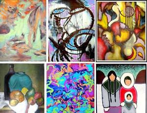 NEW ORIGINAL PAINTINGS Oakville SMALL to HUGE ART Abstract Impressionist Surrealist Colorful BW 905-510-8720