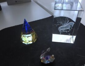 2 Lovely vintage Hadrian Crystal plus one 3d paper wieght