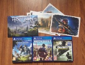 3 PS4 Games (Horizon zero dawn with 5 Posters, Watch Dogs 2, Call of Duty Infinite Warfare)