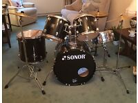 Sonor Full Drum Kit with 3 Cymbals and 5 Drums Like New