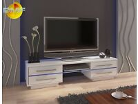 TV Unit 160cm Wide Stand White Matt & White High Gloss + Middle Glass w RGB Multicolor LED Lights