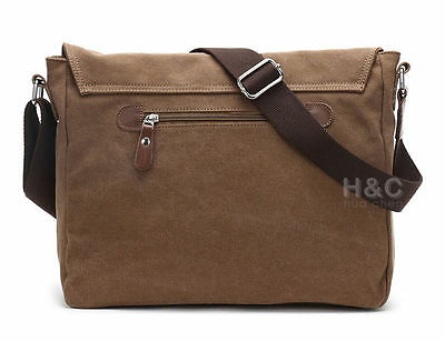 Men's Vintage Canvas Schoolbag Satchel Shoulder Messenger Bag Laptop Bags New