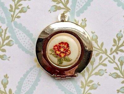 Gold Flower Locket Charm (Vintage Locket Charm, Locket Pendant,Flower Pendant,Gold Filled Locket, #1418A )